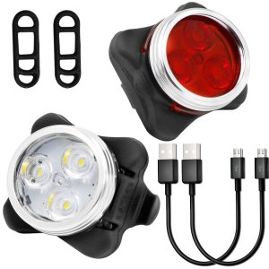 yica wiederaufladbare fahrradbeleuchtung f r vorne und hinten als set. Black Bedroom Furniture Sets. Home Design Ideas